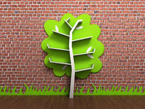 Empty shelves in the form of a tree against a brick wall 3d rend. Empty shelves in the form of a tree against a brick wall 3d Stock Image