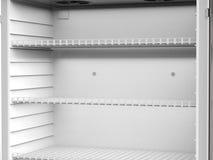 Empty shelves in fridge. 3d rendering close up empty shelves in fridge Stock Photos