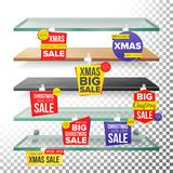 Empty Supermarket Shelves, Holidays Christmas Sale Wobblers Vector. Price Tag Labels. December Big Sale Banner. Holidays Royalty Free Stock Images