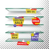 Empty Shelves, Holidays Christmas Sale Advertising Wobblers Vector. Retail Concept. Big Sale Banner. Xmas Holidays Stock Images