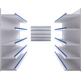 Empty shelves isolate on white background. For shop, market or other industry Royalty Free Stock Image
