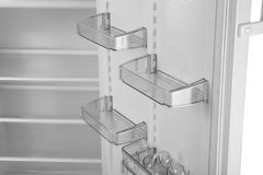 Empty shelves of refrigerator,. Close up Royalty Free Stock Photo