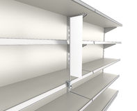 Empty shelves with shelf-stopper Royalty Free Stock Images
