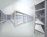 Empty shelves in store. Vector illustration. Stock Image