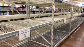 Empty shelves of Toilet Paper at Walmart shopping Center, Coronavirus, Covid-19, virus Los Angeles, CA