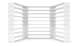 Empty shelves on white background Stock Image