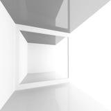 Empty shining modern interior. Square 3d. White abstract empty shining modern interior. Square 3d illustration Royalty Free Stock Photo