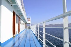 Empty Ship's Deck in a Bright Summer Day Royalty Free Stock Image