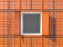 Empty ship cargo container side view 20 feet length. Empty ship cargo container 20 feet length, side view, open doors. Brown freight box background. Marine Royalty Free Stock Image