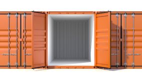 Empty ship cargo container side view 20 feet length. Empty ship cargo container 20 feet length, side view, open doors. Brown freight box isolated on white Stock Image