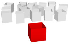 Empty shipping cartons one red box front Royalty Free Stock Photography