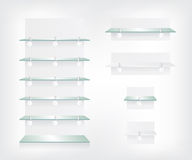 Empty shop glass shelves and wobbler Royalty Free Stock Image
