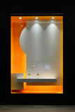 Empty shop window decorated with led light royalty free illustration