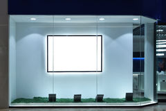 Empty shop window. LED lighting used in commercial display window stock illustration