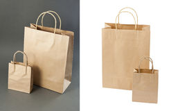Empty Shopping Bag from craft paper Stock Photos