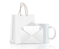Empty Shopping Bag, Envelope and Cup for Stock Photo