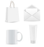 Empty Shopping Bag, Envelope and Cup for Stock Image