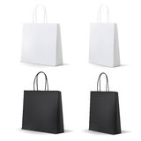 Empty Shopping Bag White and Black Set for advertising and branding. Stock Image