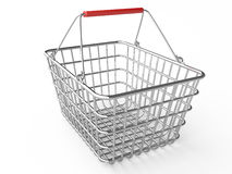Empty shopping basket (chrome) Royalty Free Stock Images