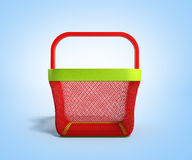 Empty Shopping Basket 3d Render on blue gradient bacground. Image Stock Images
