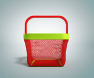 Empty Shopping Basket 3d Render on gradient bacground. Image Stock Photo