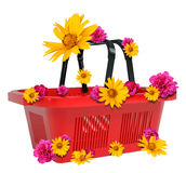 Empty shopping basket. With flowers isolated on white background. 3D illustration Royalty Free Stock Image