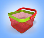 Empty Shopping Basket Render  on gradient 3D Illustratio Stock Image