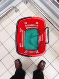 Empty shopping basket at supermarket Royalty Free Stock Image