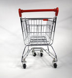 Empty shopping cart. View of an empty shopping cart on a white background. also known as a trolley Stock Photo
