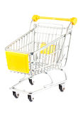 Empty shopping cart. With yellow handle on white background Stock Photos