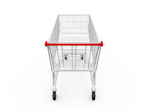 Empty Shopping Cart. Back view, isolated on white background Royalty Free Stock Photography