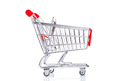 Empty shopping cart closeup. On white background Stock Image