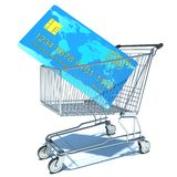 Empty shopping cart with a credit card Royalty Free Stock Photo