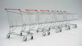 Empty shopping cart, 3d render Stock Images