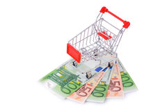 Empty Shopping Cart on Euros Isolated Royalty Free Stock Photo
