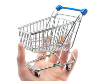 Empty shopping cart in the palm of a hand Royalty Free Stock Photo