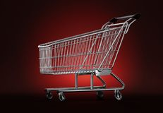 Empty shopping cart on red background. 3D illustration. Contains Stock Image