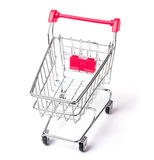 Empty shopping cart. With the red handle on a white  background Stock Photography