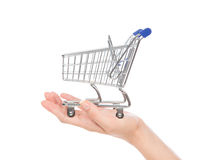 Empty shopping cart for sale on open hand i. Solated on a white background Stock Photos