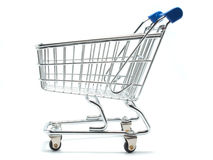 Empty shopping cart side view Royalty Free Stock Photos