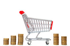 Empty shopping cart and stacks of yellow coins Stock Images