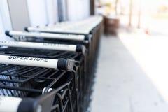 Empty Shopping cart at supermarket royalty free stock image