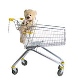 Empty shopping cart with Teddybear Royalty Free Stock Photo