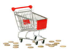 Empty shopping cart and threw out coins Stock Photos