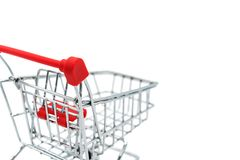 Empty shopping cart trolley isolated on white backgrounds Royalty Free Stock Photography