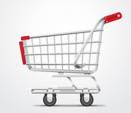 Empty Shopping Cart Trolley Vector in  White Background Stock Image
