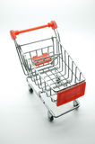 Empty shopping cart, trolley on white background Royalty Free Stock Photo