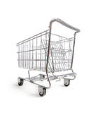 Empty shopping cart on white. Empty shopping cart shot on white background Royalty Free Stock Photography