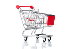 Empty shopping cart. On white background Royalty Free Stock Photo