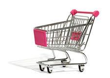 Empty shopping cart on white Stock Photo